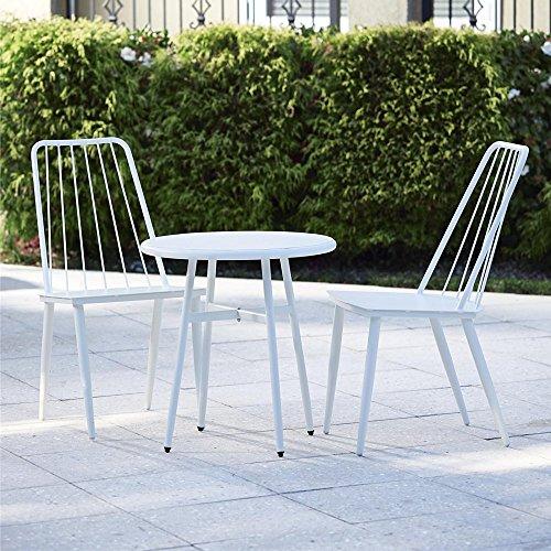 Cosco Outdoor 3 Piece Cottage Bistro Steel Patio Furniture Set, White