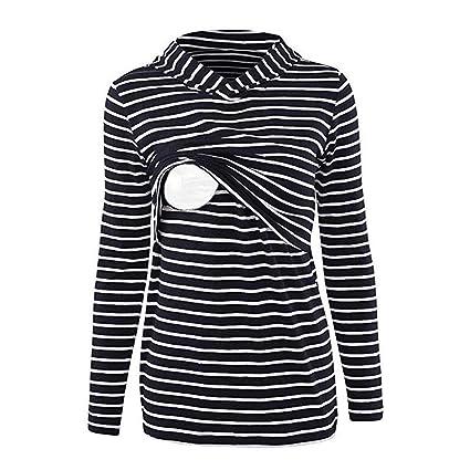 6671d0e39d99c Livoty Women's Maternity Breastfeeding Tee Shirt Nursing Top Hoodie Long  Sleeves Striped Blouse Sweatshirt (S