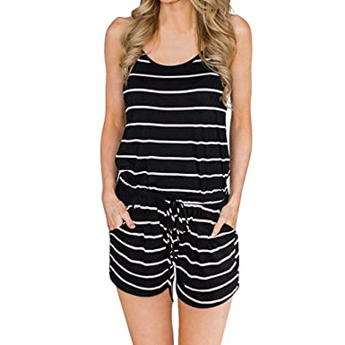 5a3a7fc752b Women Summer Striped Short Romper Jumpsuit Casual V Neck Sleeveless Strappy  Cami Beach Playsuit