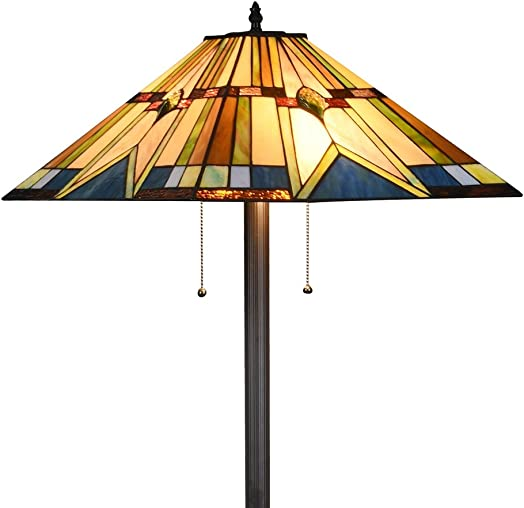 Tiffany Style Mission Floor Lamp Handcraft Stained Glass Shade W18 x H65 Floor Standing Reading Light, Multi-Colored