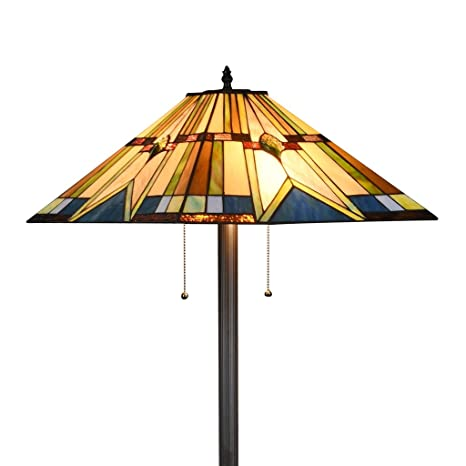Docheer Tiffany Style Mission Floor Lamp 18 Inch Stained Glass Shade Floor  Standing Reading Light,