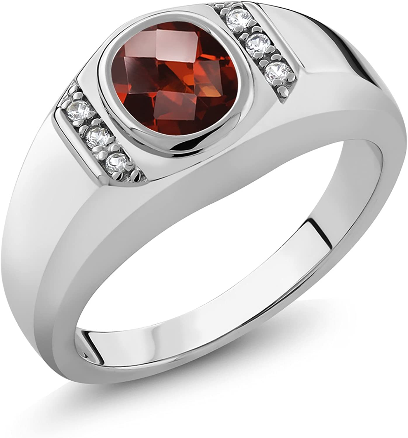 Gem Stone King 1.53 Ct Oval Checkerboard Red Garnet 925 Sterling Silver Mens Ring
