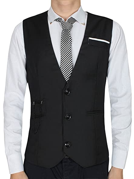 Cokle Men's V-neck Dress Vest Slim Fit Sleeveless Waistcoat Casual ...