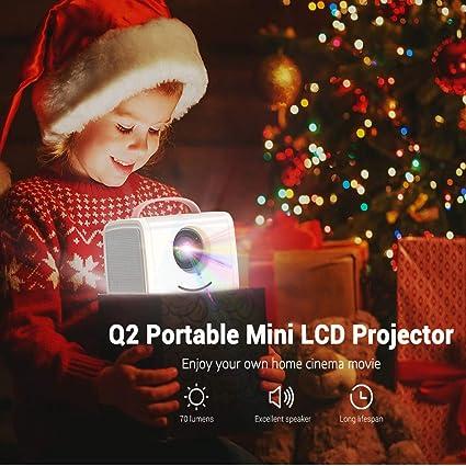ZMM Q2 Home Mini proyector 1080P 1800 Lumen portátil LCD LED proyector Home Theater USB HDMI 3D proyector subwoofer,pinkwhite: Amazon.es: Hogar