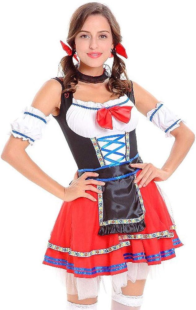 Women Red Splice Bandage Costumes Oktoberfest Dirndl Dress Cosplay Costume