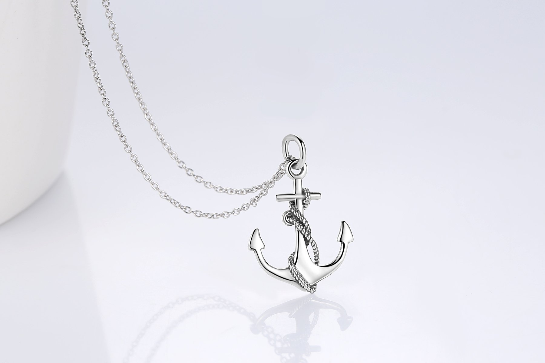 Women's Necklaces Sterling Silver Anchor Pendant Necklace Fine Jewelry for Women by Cuoka (Image #5)