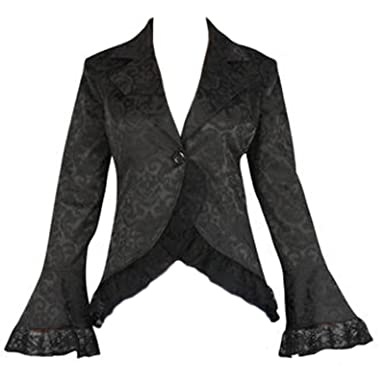 f158f056ac2 Black Long Bell Sleeve Lace Corset Gothic Victorian Fishtail Jacket Size 24 26  at Amazon Women s Coats Shop