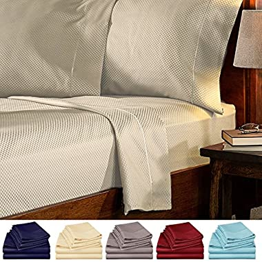 4 Piece Bed Sheets Set Queen Checkered - Hotel Quality 4 Piece Deep Pocket 1800 Series Bed Sheet Set Comfortable, Breathable, Soft & Extremely Durable (Queen ,Cream)