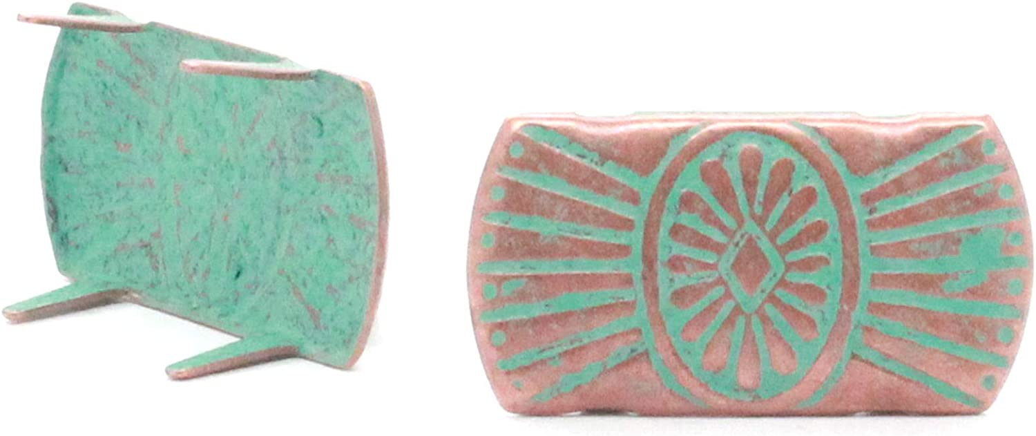 """10 New Thunderbird Spots 1 1//8/"""" x 5//8/"""" Copper and Green Patina  4 Prong"""