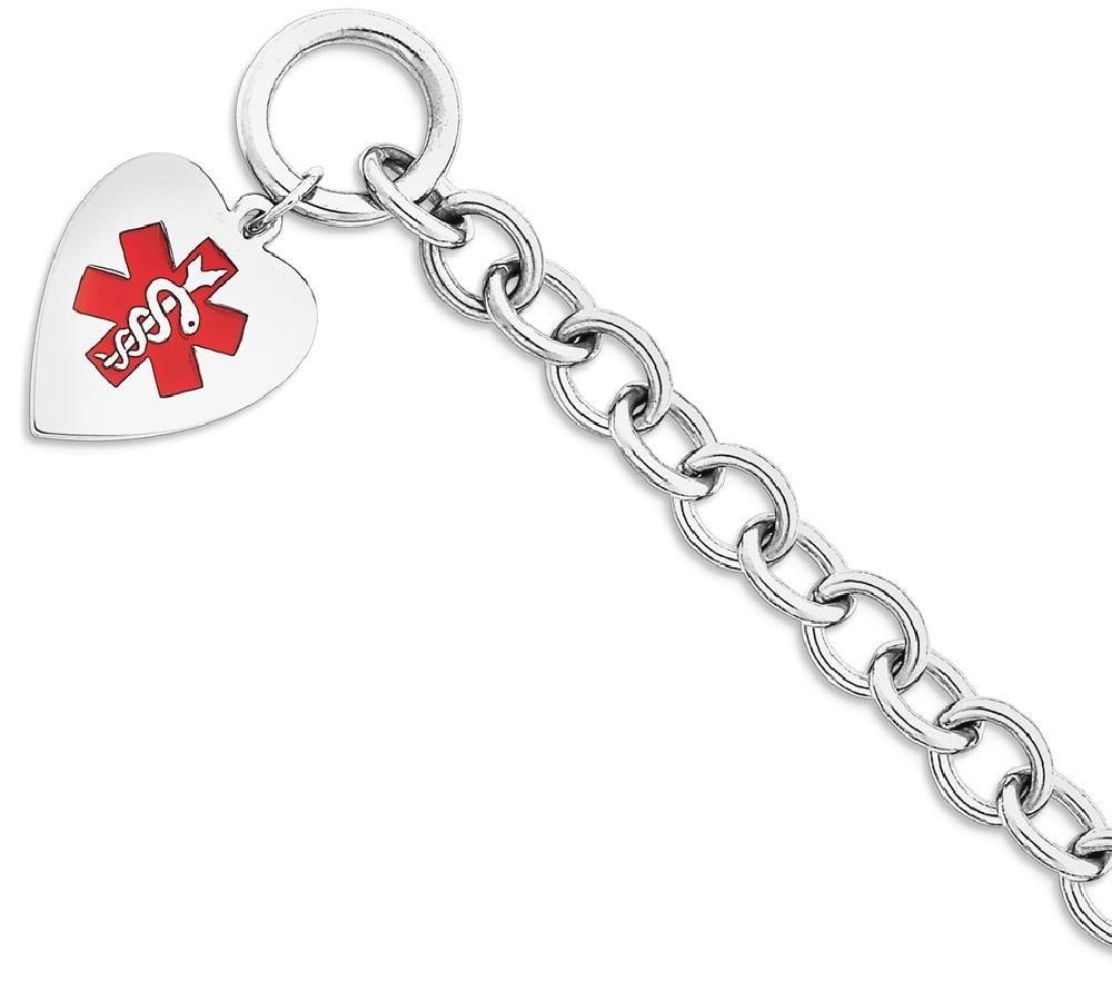 ICE CARATS 925 Sterling Silver Engraveable Enamel Heart Medical Id Bracelet Fine Jewelry Gift Set For Women Heart