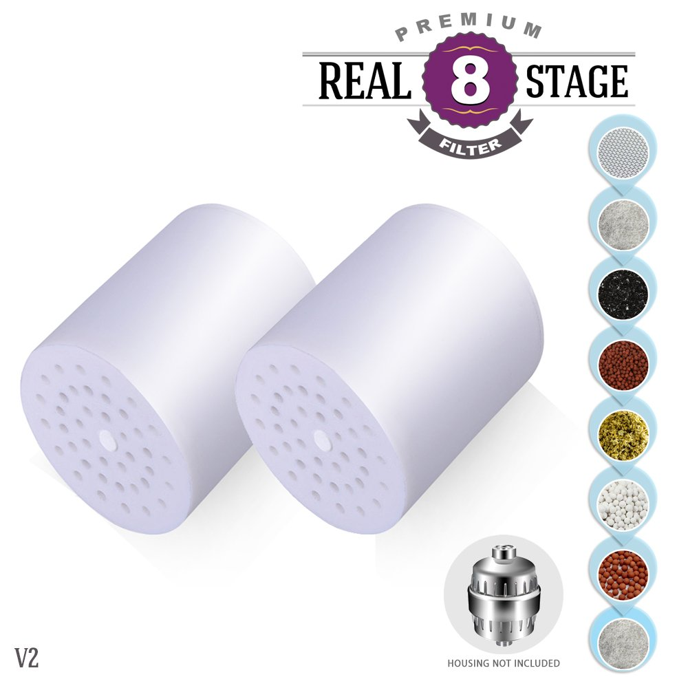 U-PY 8-Stage Replacement Universal SPA Shower Filter Cartridge - Dual Pack 1-Year Supply (No Housing) - Removing Chlorine and Heavy Metals. High Output. Gentle to Skin and Hair.