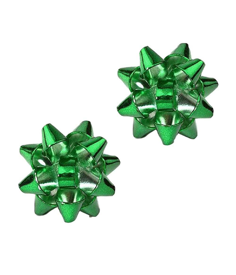 Green Red Gold Colors Miniature Bow Earrings in Silver