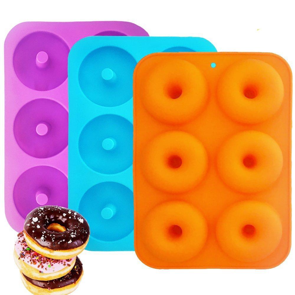 Silicone Donut Baking Pan, IHUIXINHE 6-Cavity Non-Stick, BPA Free Donut Mold, Dishwasher, Oven, Microwave, Freezer Safe (3 Pack)