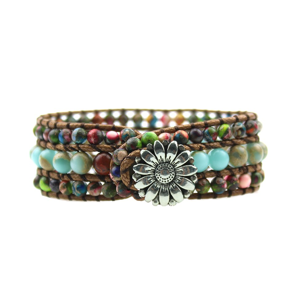IUNIQUEEN Rainbow Natural Stone Beads Friendship Statement Wrap Imperial Jasper Bracelets Collection for Women (round beads style)