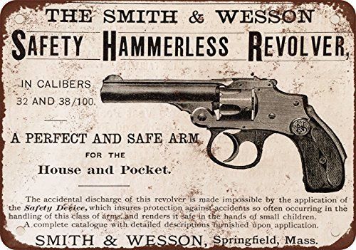(1890 Smith & Wesson Safety Hammerless Revolver Vintage Look Reproduction Metal Tin Sign 12X18 Inches)