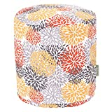 Citrus Blooms Small Pouf,Yellow/Grey,17'' x 16'' x 16''