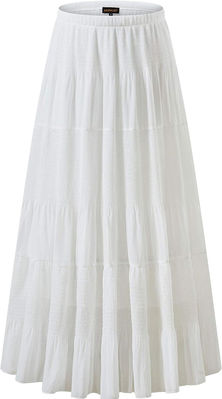 Vintage Inspired Slips NASHALYLY Womens Chiffon Elastic High Waist Pleated A-Line Flared Maxi Skirts  AT vintagedancer.com