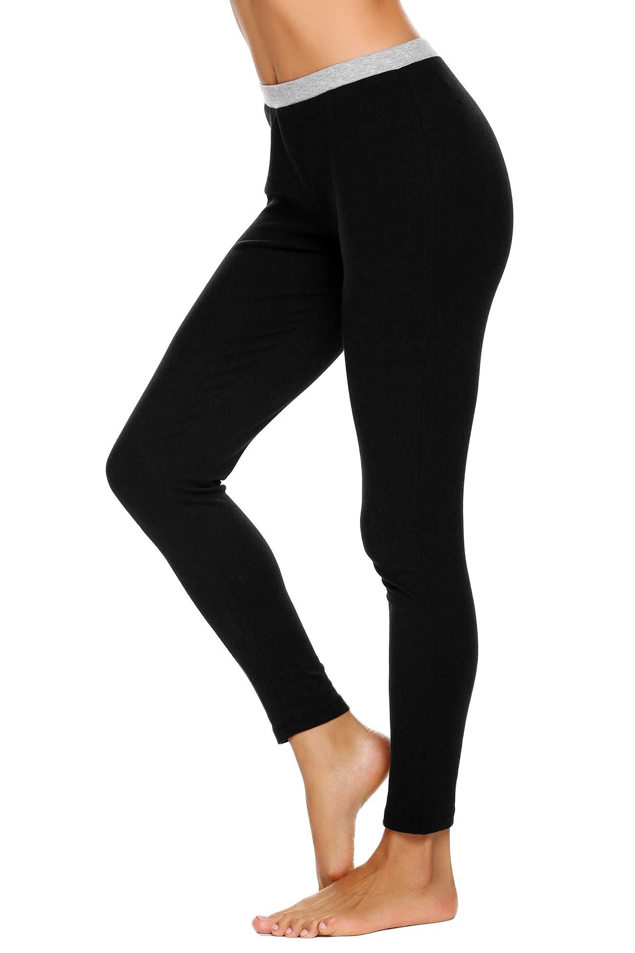 Ekouaer Women's Thermal Pants Underwear Bottoms Base Layer Legging (Black S)