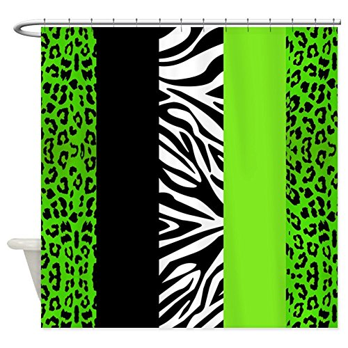 OneHoney Lime Green Animal Print Stripes Zebra Leopard,Waterproof and Mildewproof Polyester Fabric Bath Curtain Extra Long - Green Animal Print Zebra