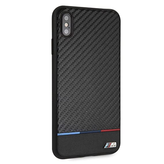 premium selection 7e6c6 bdebc CG Mobile BMW Compatible with iPhone Xs Max Case - by CG Mobile - Black  with Tri-Colored Stripe Hard Cell Phone Case PU Carbon Fiber| Easily ...
