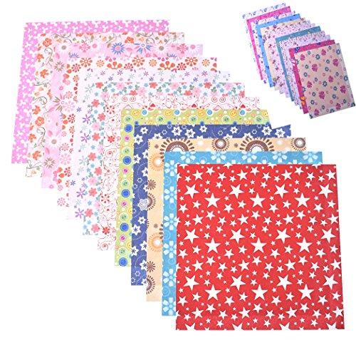 Raylinedo 144 Sheets Craft Folding Origami Paper Washi Folding Paper 15CM15CM with Different Colors and Patterns (Patterns Various)