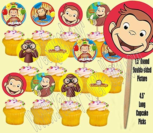 Curious George Monkey Double-Sided Cupcake Picks Cake Toppers -12 pcs ()