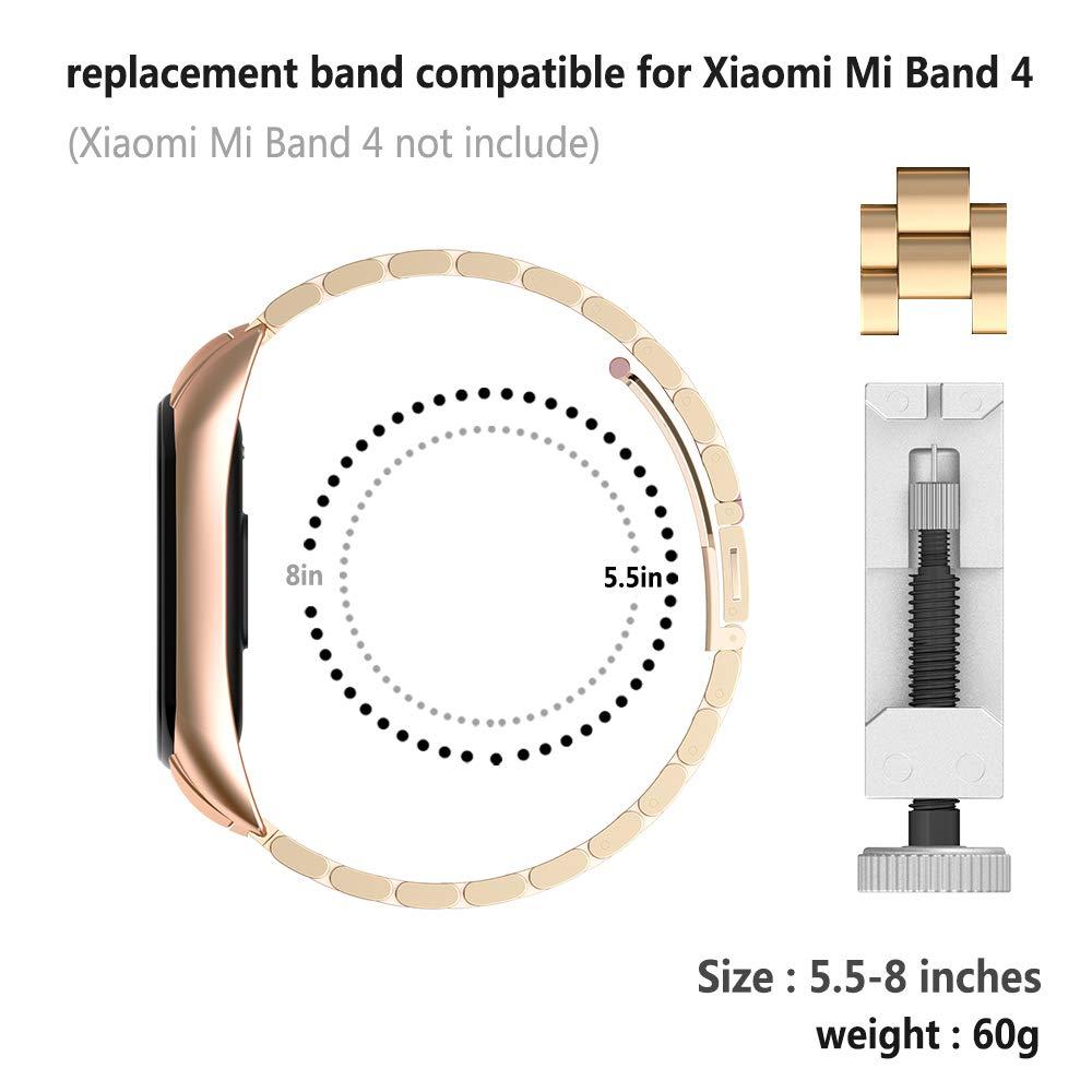 de Acero Inoxidable Cuentas Reemplazo de Mujeres y Hombres de Metal Correa Compatible para Xiaomi Mi Band 4 Rosa GeeRic Banda Compatible para Xiaomi Mi Band 4