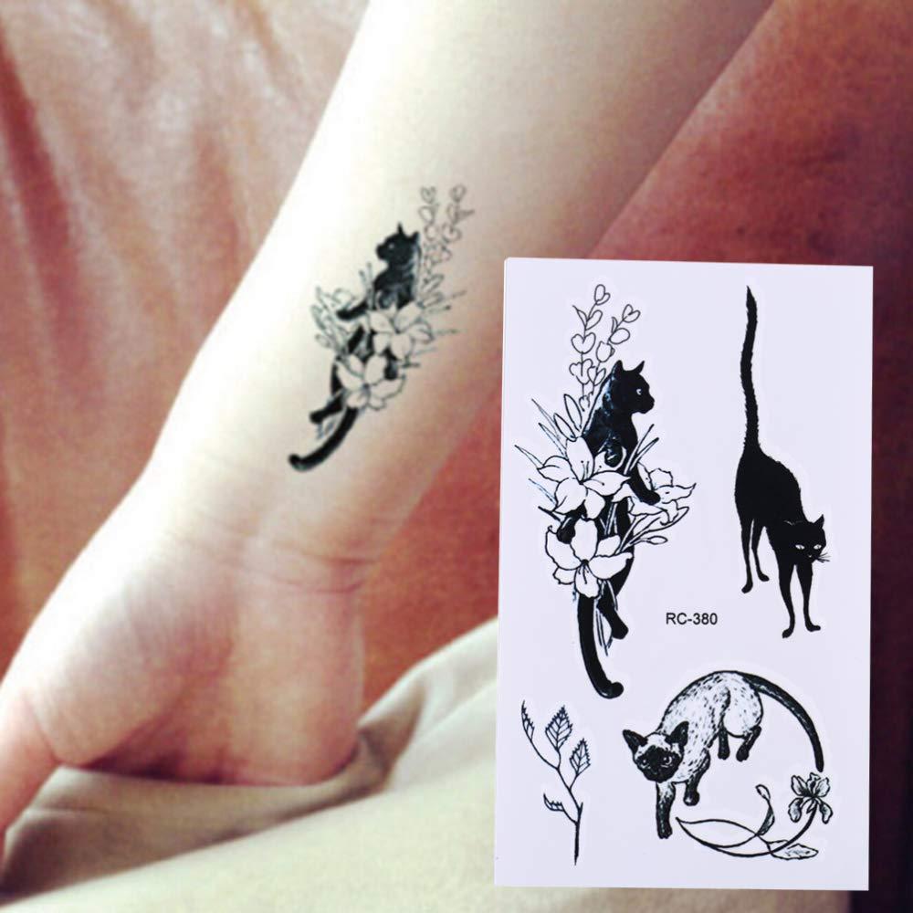 adgkitb 5pcs Impermeable Negro Gatos Tatuaje Temporal Cuerpo Arte ...