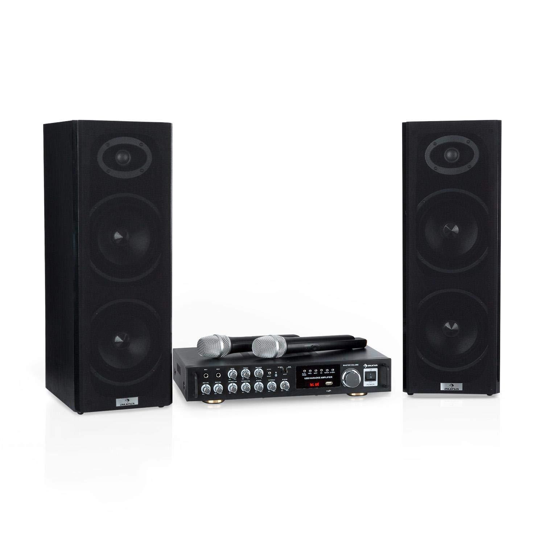 auna Karaoke Star 2 Karaoke • Equipo de Karaoke • 2 x 50 W de Potencia máx. • Bluetooth • USB/SD • Entrada de línea • con micrófono y Cable de Altavoces • Negro JO2-90400-aksd