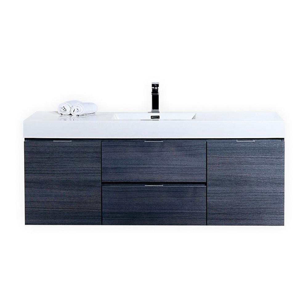 Bliss 60″ Gray Oak Wall Mount Single Sink Modern Bathroom Vanity ...