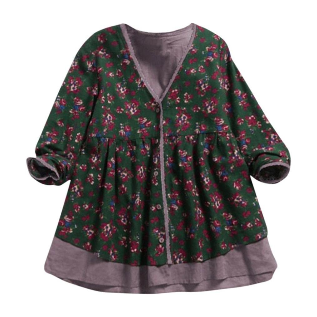 Clearance! Women Blouse Daoroka Ladies Cotton Linen Long Sleeve V-Neck Print Double-Layer Fake Two Pieces Autumn Winter Casual Loose Tunic Tops Long Fashion Pullover T Shirts