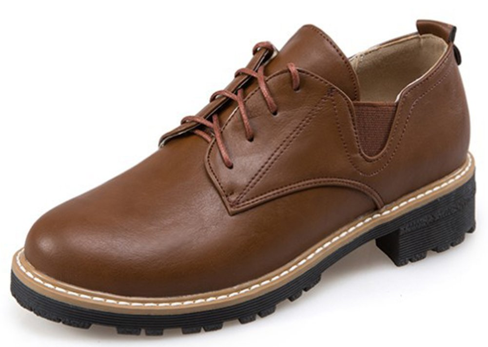 IDIFU Women's Fashion Low Chunky Heels Low Top Lace Up Oxfords Wear to Work Office Shoes Brown 9.5 B(M) US