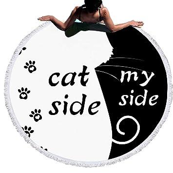 Sticker Superb Blanco y Negro Cat Side and My Side Toalla de Playa Redonda con Borlas