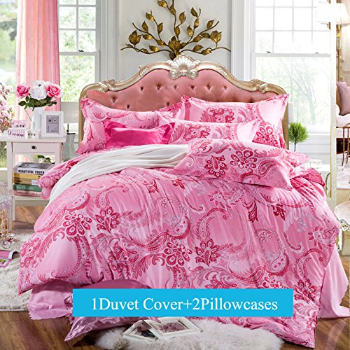 Ttmall 3-pieces Full Queen Size Microfiber Duvet Cover Set, Pink Red Paisley