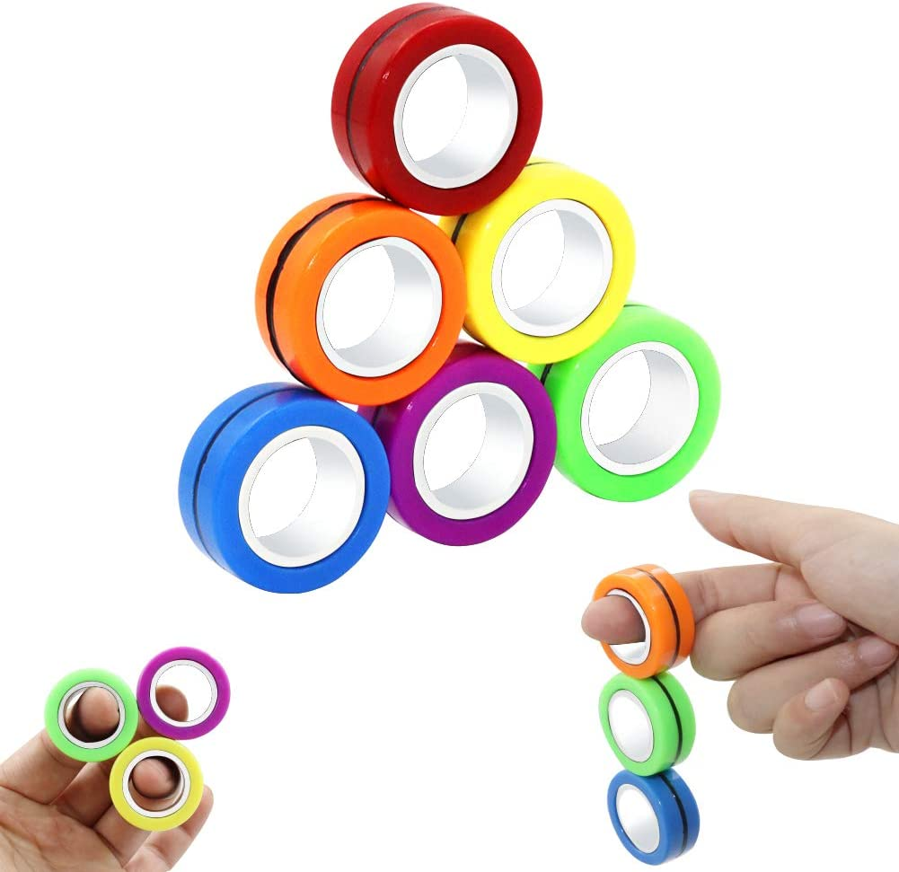 Funnyme Decompression Magnetic Rings Fidget Toys Professional Fidget Spinner Stress Relief Rings Props Colorful Training Relieves Reducer Autism Anxiety Finger Therapy Stress Toys 6 Pcs Set B Toys Games Amazon Com