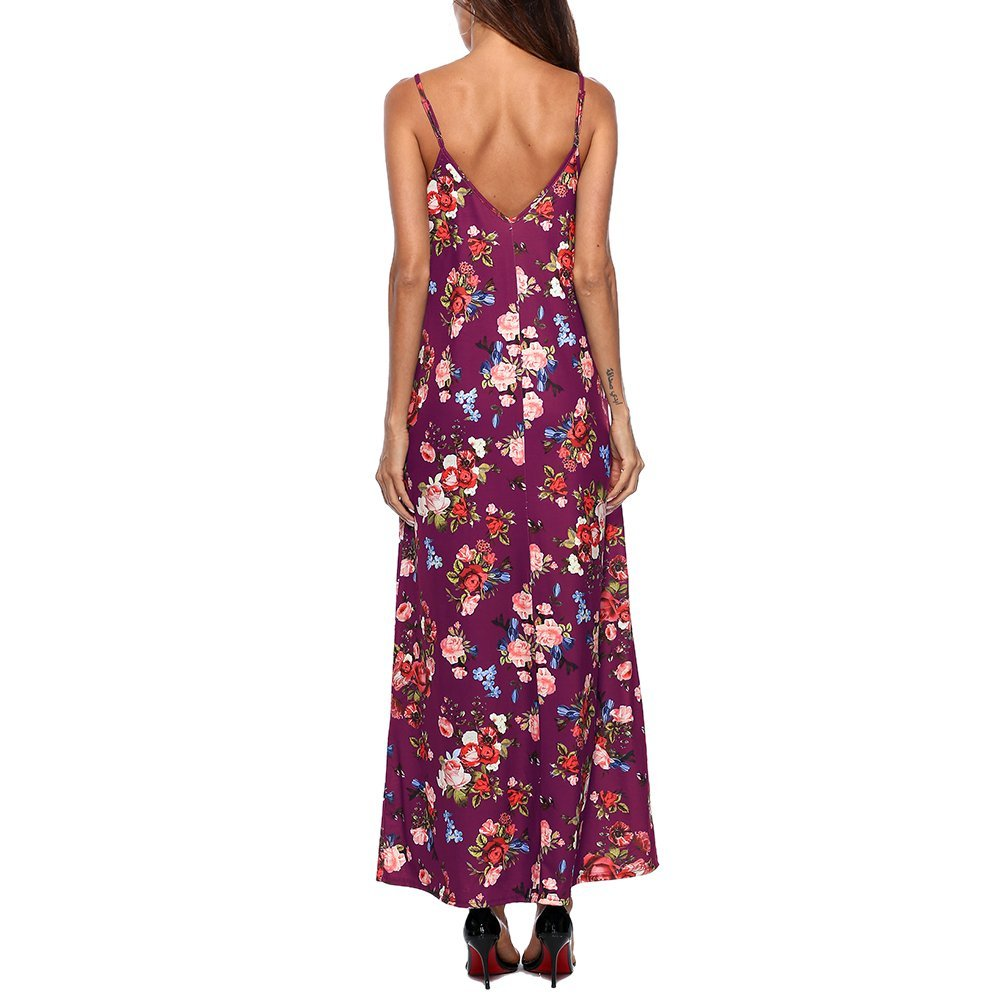 7b4b5143c23c Co Women s Spaghetti Strap Sexy Maxi Dress Casual Loose Deep V Neck Printed  Floral Long Dresses with Pocket at Amazon Women s Clothing store