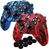 Kono Water Transfer Printing Camouflage Silicone Cover Skin Case for Microsoft Xbox One X & Xbox One S controller x 2(red&blue) With PRO thumb grips x 8
