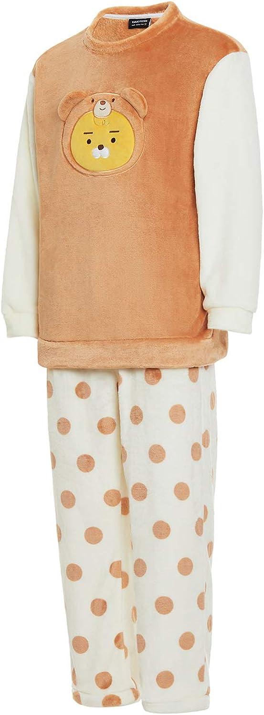 KAKAO FRIENDS Official- Teddy Bear Fleece Two-piece Pajamas Set (Men, Ryan) Brown