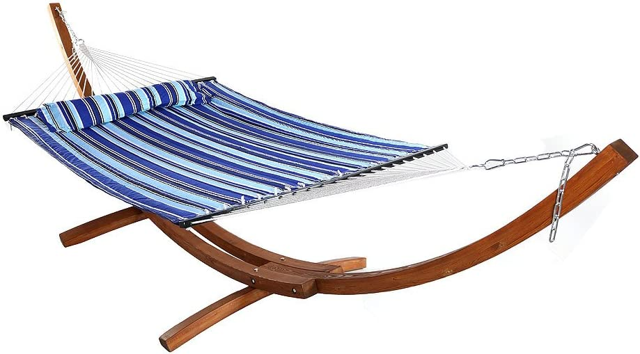 Sunnydaze Curved 13 ft Wooden Hammock Stand with Catalina Blue 2-Person Double Hammock - 400 lbs Weight Capacity