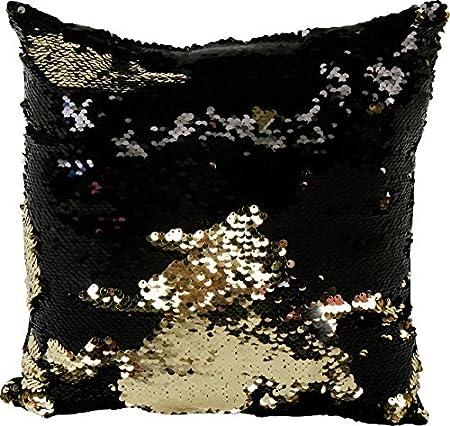 pailietten Cojín Oro/Negro Glitter Cojín 30 x 30 cm: Amazon ...