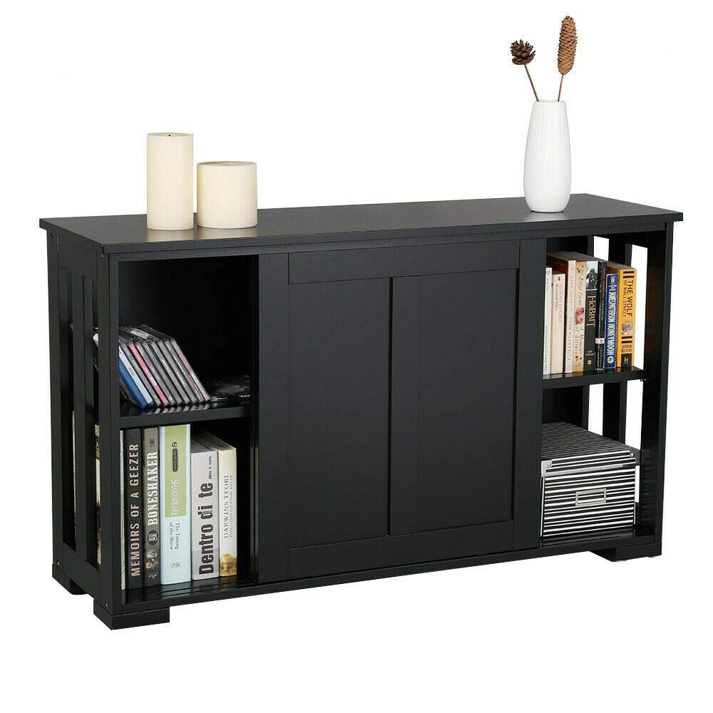 Black Modern Kitchen Sideboard Buffet Cupboard Storage Cabinet with Sliding Door, Dining Room Server Table, Console Table Home Accent Furniture by Home & Kitchen Furniture