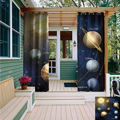 Beihai1Sun Indoor/Outdoor Curtains,Educational Solar System Planets,Simple - Transparent Rods System 96