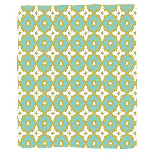 VROSELV Custom Blanket Ceramic Tile Floral Shaped Soft Pastel Toned Ornate Islamic Mosaic Style Pattern Soft Fleece Throw Blanket Khaki Turquoise by VROSELV