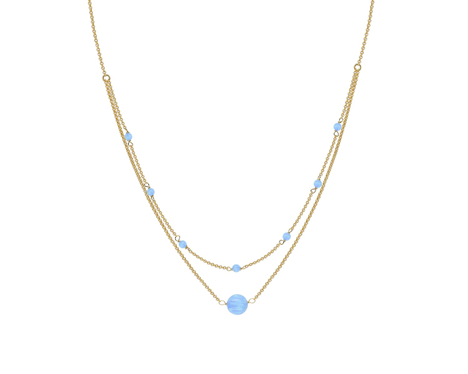 Gold Plated Sterling Silver Double Strand Blue Opal Choker Necklace