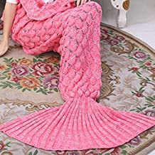"""Mermaid Tail Blanket Scales Knitted All Seasons Sleeping Bag Sofa Bed Snuggle Cozy for Kids (scale pink, 56"""" x 28"""")"""