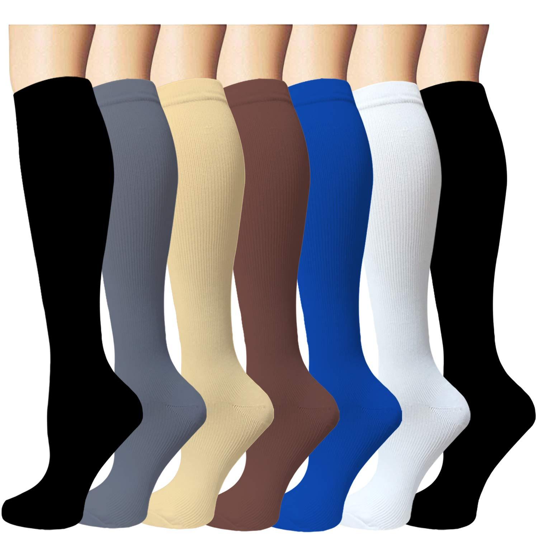 7 Pairs Compression Socks Women & Men -Best Medical,Nursing,Travel & Flight Socks-Running & Fitness-15-20mmHg (Small/Medium, Assorted 1)