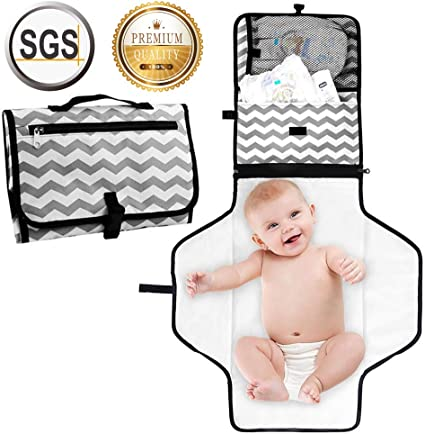 Portable Baby Diaper Changing Pad with Mesh Bag Toddlers Infants Waterproof Foldable Mat for Home Travel Outside