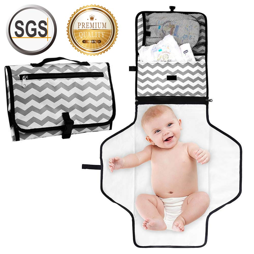 Portable Nappy Changing Mat with Mesh and Head Cushion Pockets Waterproof Diaper Changing Pad Organizer Foldable Infant Urinal Pad Baby Changing Kit Kid Transit Changing Bag for Home and Travel Zhong Liang Rui Da