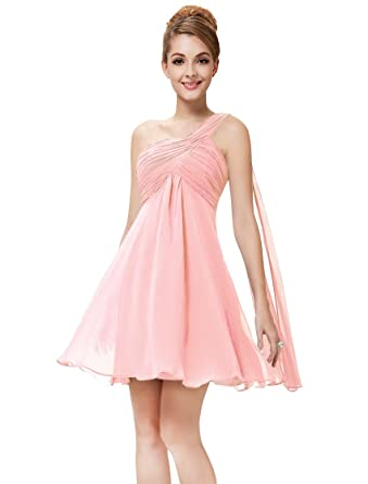 68899b370837 Ever-Pretty Juniors One Shoulder Empire Waist Short Prom Dress 10 US Pink  at Amazon Women's Clothing store: