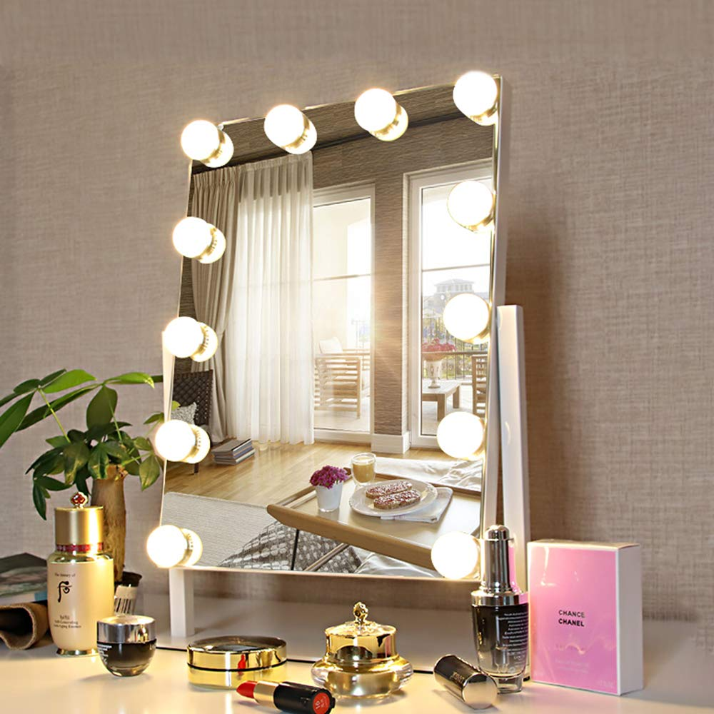 FENCHILIN Lighted Makeup Mirror Hollywood Mirror Vanity Makeup mirror with Light Smart Touch Control 3Colors Dimable Light Detachable 10X Magnification 360 rotation White